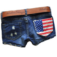 H&Q Hot Sales 2015 Summer New Arrival Women Fasion Denim Sexy America Flag Brand Jeans a Shorts Blue Short Pants Feminino 05-016