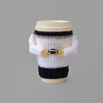 Football coffee cozy. Football party. Big game 2017 LI. White blue silver. Coffee sleeve. Mug sweater. Travel mug cozy. Football gift.