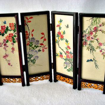 Asian Folding Table Screen, Hand Painted Gouache on Silk, Japanese 4 Panel Table Top Display