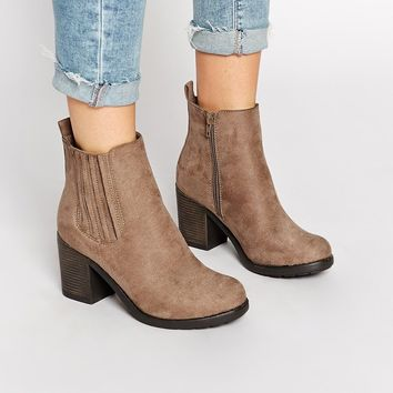 New Look Dolly Brown Block Heel Chelsea Boots