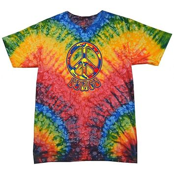 Yoga Clothing for You Funky Peace Tie Dye Woodstock T-Shirt