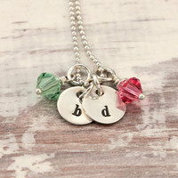 Moms necklace, initial necklace, sterling silver, birthstone necklace, Swarovski birthstones, hand stamped, gift for mom, tiny bits,