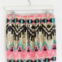 Pink Sequin Aztec Skirt