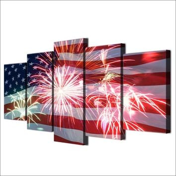 July 4th Fourth American Flag And Fireworks 5 Panel Pieces Canvas Abstract Painting Poster Wall Art