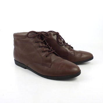 Granny Boots Vintage 1980s Brown Leather Lace Up  Women's size 7 1/2