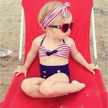 2016 Baby Infant Girls Kids Tankini Bikini Suit Button Striped Bottoms Beachwear Swimsuit Swimwear Bathing Suit