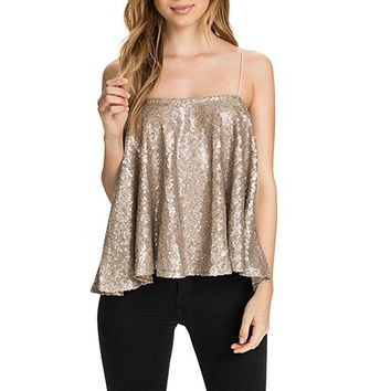 Sexy Gold Sequin Tank Top Club Camis