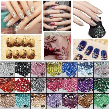 ONETOW 1000pcs 2mm FlatBack Resin Rhinestones DIY Nail Art Mobile Phone SS6 Loose Beads Stones 22 Colors for Slection