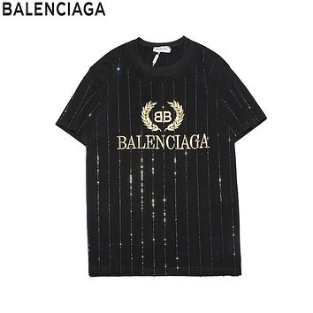 Balenciaga 2019 new hot drilling striped men and women round neck half sleeve T-shirt Black