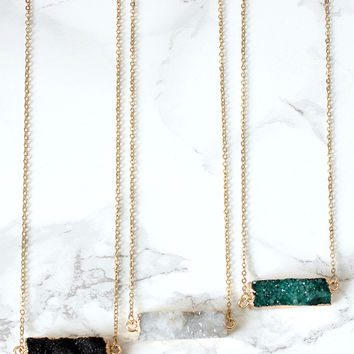 Druzy Bar Necklace - Black, White, Green