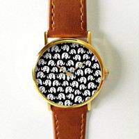Elephant Watch, Women Watches, Mens Watch, Leather Watch, Boyfriend Watch, Black and White, Vintage Style, Gold Silver Rose Watch, Ladies