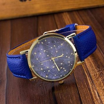 Leather Constellations Star Watch Women Men Quartz Casual Watch