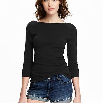 Old Navy Womens 3/4 Sleeve Boat Neck Tops