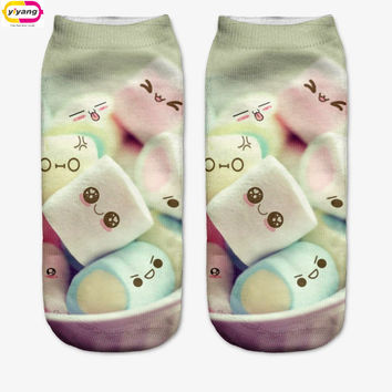20 Colors You can choose Lovely smiling face 3D Print Animal women Socks Casual cartoon Socks Unisex Low Cut Ankle Socks