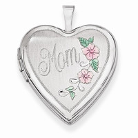 14k White Gold 20MM Flowers Mom Heart Locket