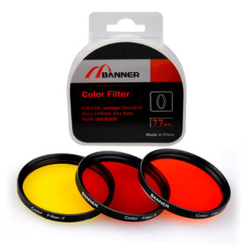 77mm Full Colors Lens Kit Circular Filter for Black & White Photography 3 Colors