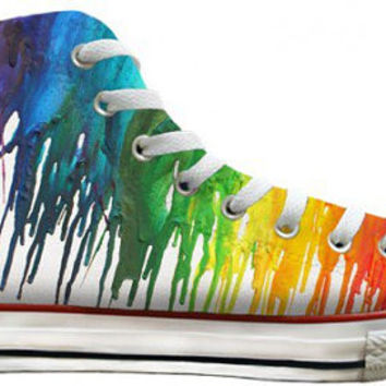 Ladies Color Crayon Drip Rainbow pride Custom Printed High Top Converse Swarovski Crystal Rhinestone Chuck Taylor All Star Sneakers Shoes