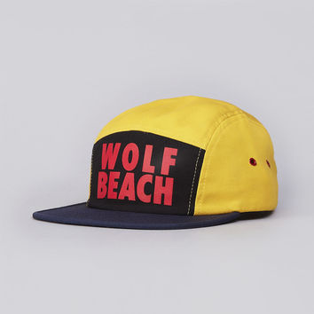 Flatspot - Raised By Wolves Wolf Beach 5 panel Cap Navy / Black / Yellow