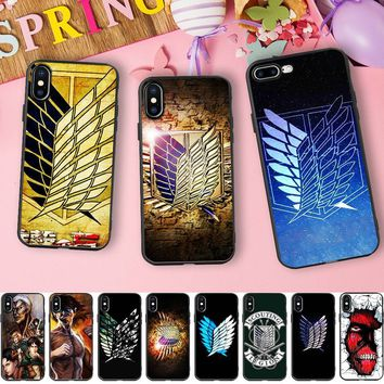 Cool Attack on Titan Minason Japanese Anime Cartoon Case for iPhone 6s Case  Wings Soft Silicone Case for iPhone X 7 5 5S SE 6 8 plus AT_90_11