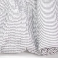 """Muslin Swaddle Blanket in Grey Stripe - made from 100% cotton double gauze - 45"""" square"""