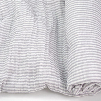 "Muslin Swaddle Blanket in Grey Stripe - made from 100% cotton double gauze - 45"" square"