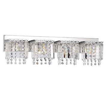 4-light Glam Chrome Finish Crystal Strand Wall Sconce