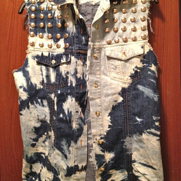 Handmade Tye Dye Studded Denim Button Up Vest by Moleek7 on Etsy