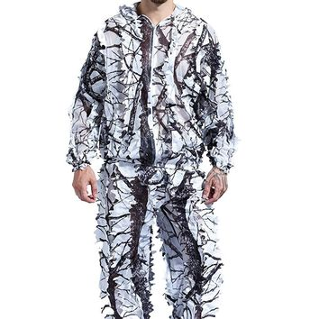 Winter 3D white snow plum tree branches style camouflage ghillie suit birdwatch airsoft hunting clothes include jacket and pants