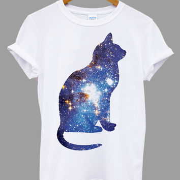 Cosmic Cat Triangle galaxy space cross Popular Item on etsy for Funny Shirt, T shirt Mens and T shirt ladies size S, M, L, XL, XXL