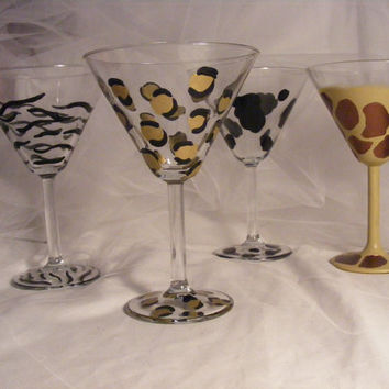 animal print martini glasses by DelightfulFinds on Etsy