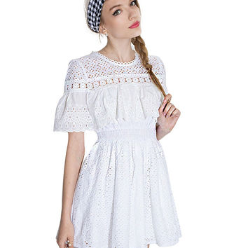 Lace Cut Out Short Bell Sleeve Elastic Waist A-line Pleated Mini Dress