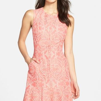 Bcbg peach lace dress
