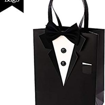 "Crisky Classic Black Tuxedo Gift Bags for Groomsman Father's Birthday Anniversary Wedding Favor Bags 10""x8""x4"" set of 6"