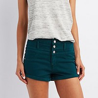 "REFUGE ""HI-WAIST SHORTIE"" DENIM SHORTS"