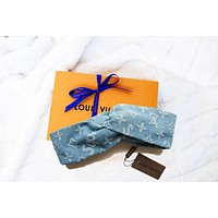 LV Hair scarf Gucci Headband Women Accessory Trending B104475-1 Cowboy Blue Knot