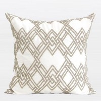 "Gold Handmade Textured Check Beaded Pillow 20""X20"""