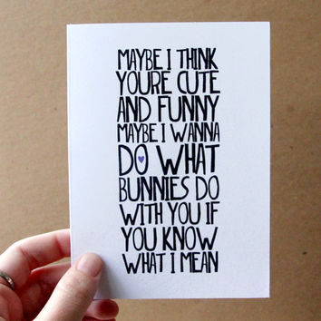 funny easter card maybe i wanna do what bunnies do with you ingrid michaelson lyrics letterhappy etsy