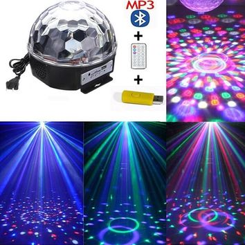 6 Colors Bluetooth MP3 LED Laser Projector with USB Disk+Remote Club Party Music Crystal Magic Ball Stage Spot Light Festival De