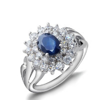 Oval cut natural sapphire sterling silver ring(0.85ct)