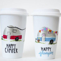 Happy Camper Mug - Camping Mug Set - Happy Glamper Mug - Camper Gift - Camping Gift - Gifts for a Couple Who Likes Camping