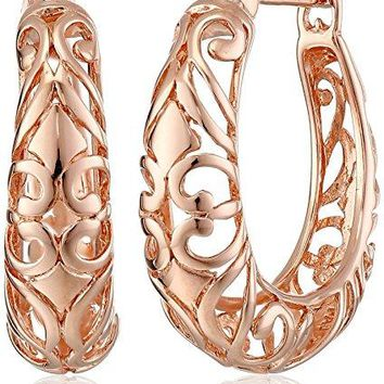 Sterling Silver Textured Filigree Round Hoop Earrings 07 inches
