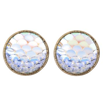 Fashion Mermaid Resin Round Copper Ear Stud Earrings - Free Shipping