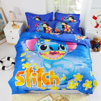 Bedding Set 4pcs Cartoon Printed Stitch Snow Princess Bedclothes Duvet Cover Bed Sheet Children Kids Comforter cover Bed Linen