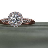 Diamond Halo Engagement Ring Hand Engraved Feather detail Half Eternity 14K Rose Gold