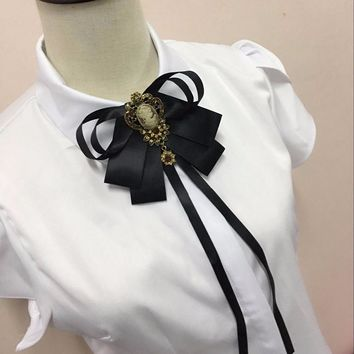 New free shipping 2017 new woman female male men Collar flower beautiful lady buckle knot bow tie collar shirt tassel Korean