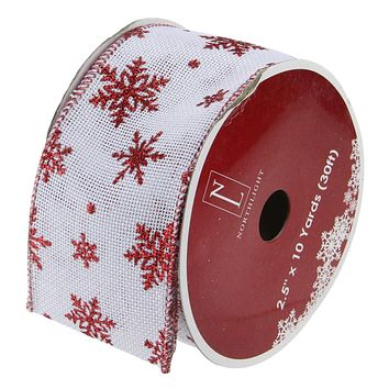 """Pack of 12 White and Red Snowflakes Burlap Wired Christmas Craft Ribbon Spools - 2.5"""" x 120 Yards Total"""