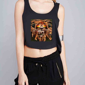 DJ Rasta lion dread for Crop Tank Girls S, M, L, XL, XXL *07*