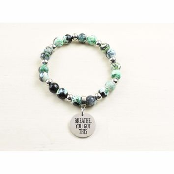 Genuine Agate Inspirational Bracelet - Green - Breathe You Got This