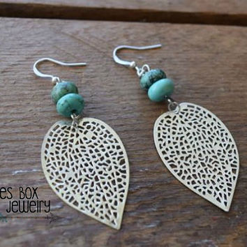 Turquoise Magnesite & Silver Filigree Leaf Earrings  /  Gypsy Earrings / Boho Earrings