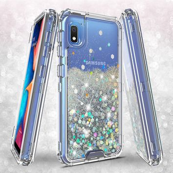 Samsung Galaxy A10e Case,Hard Clear Glitter Sparkle Flowing Liquid Heavy Duty Shockproof Three Layer Protective Bling Girls Women Cases for Samsung Galaxy A10e - Clear